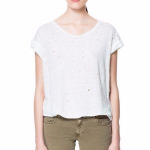 Zara Ivory Distressed Linen Tunic Top